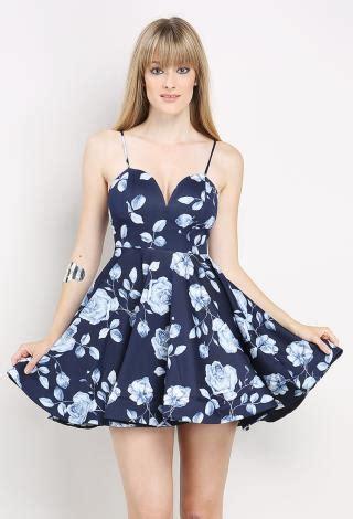 Malisa Flowery Flare Mini Dress flower printed flare dress shop at papaya clothing