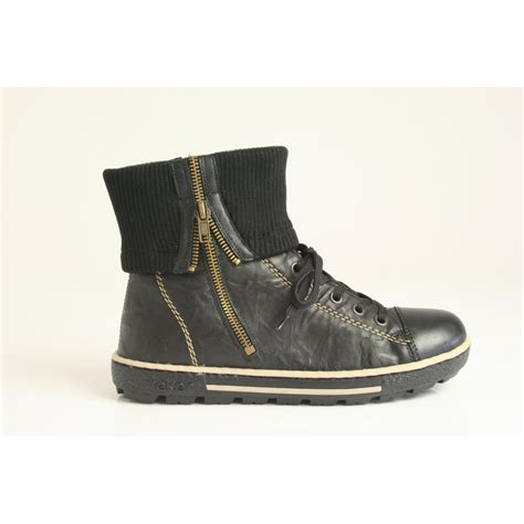 rieker black ankle boot with zip and warm lambswool fleece