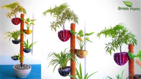plants pot tower garden  coconut shell
