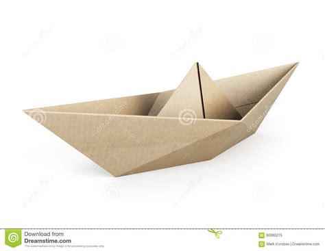origami cardboard boat origami boat out recycle paper on white background stock
