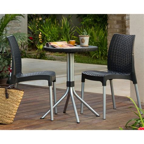 outdoor patio set 3 wicker resin rattan bistro