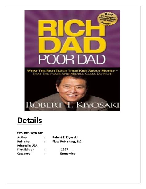rich poor book report essay quot rich poor quot by richard kyosaki summary