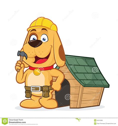 dog house builders dog builder with dog house stock vector image of joiner 55315390
