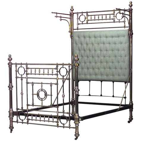 dramatic 19th century american sized brass bed for