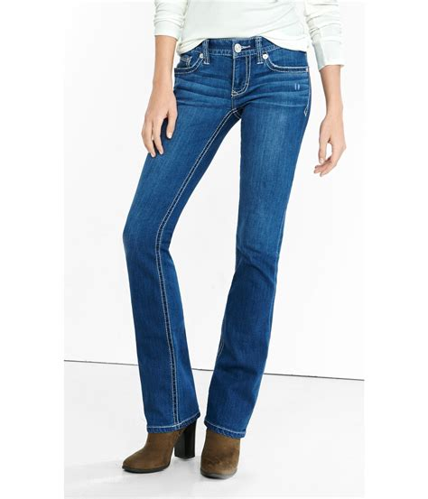 Celana Celana Express Washed Denim Low Rise Boot Cu lyst express low rise thick stitch barely boot jean in blue