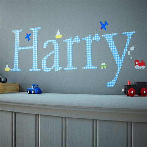 childrens personalised wall stickers personalised wall letter stickers blue gingham