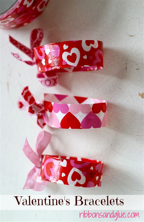 simple valentines s duct bracelets ribbons glue