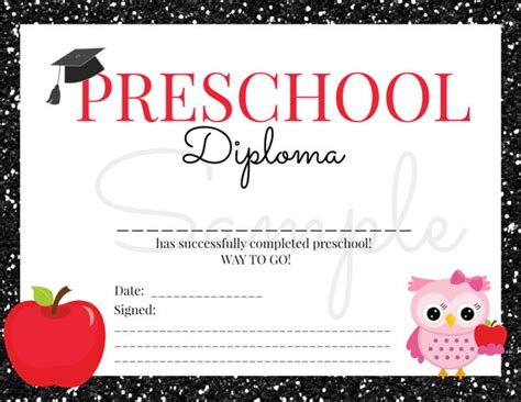preschool graduation certificate template instant preschool graduation diploma for