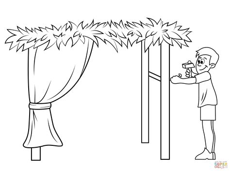 sukkot coloring pages building a sukkah for sukkot coloring page free