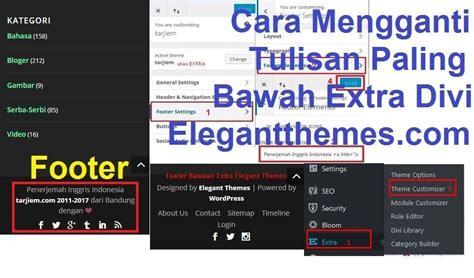 remove elegant themes link in footer cara mengganti tulisan paling bawah extra divi