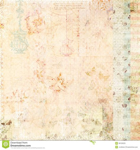 pink shabby chic background with butterflies stock