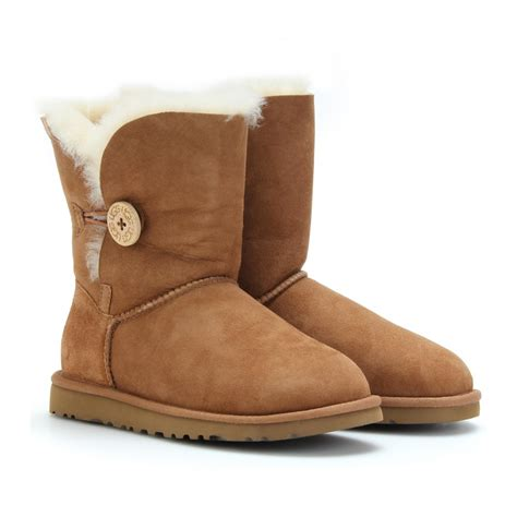 with ugg boots ugg bailey single button shearling boots in brown lyst
