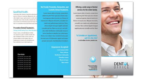 tri fold brochure template for dentist dental office