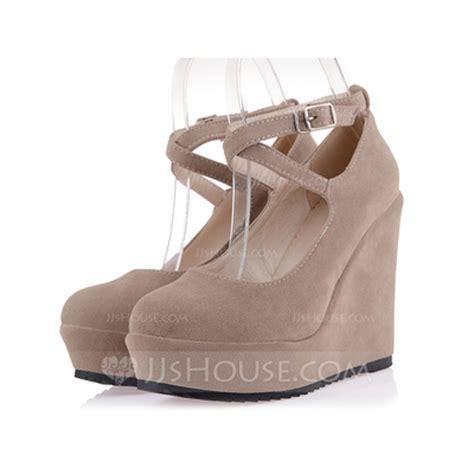 suede wedge heel platform closed toe wedges with buckle