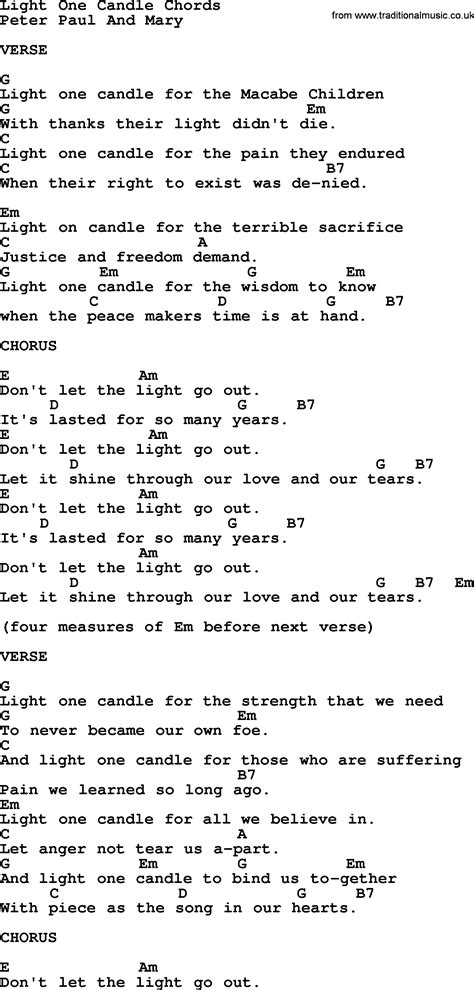 light a candle for peace lyrics peter paul and mary song light one candle lyrics and chords