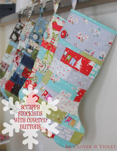 quilted stocking tutorial clover violet scrappy stockings with covered button