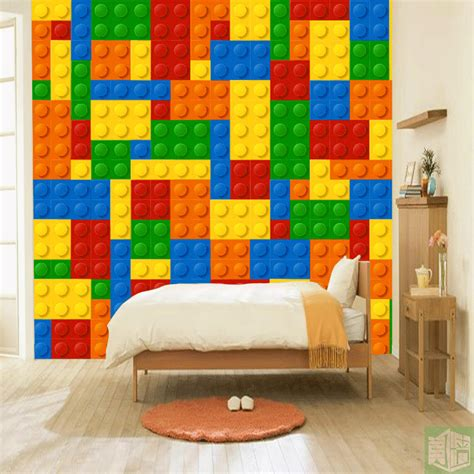 buy wall mural aliexpress buy 3d lego bricks wallpaper children s playground wall murals photo wallpaper