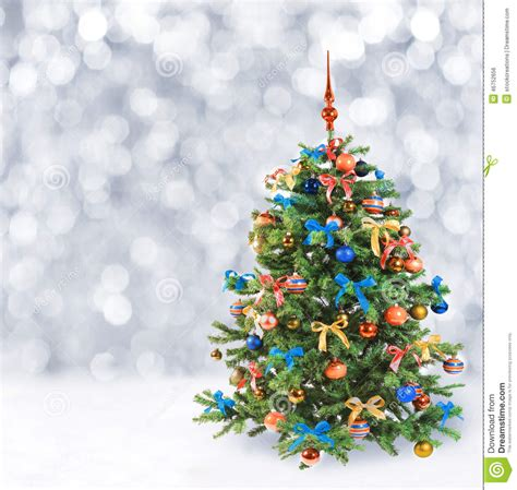 festive christmas tree  winter snow stock photo image