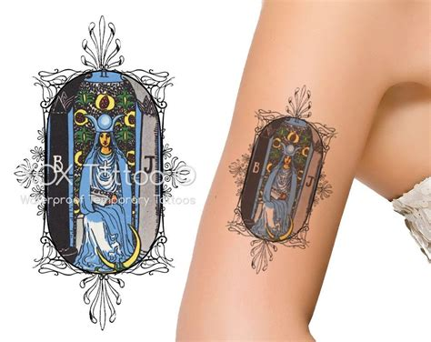 the high priestess tarot card waterproof temporary tattoos