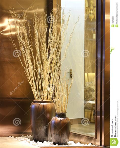 Spray Paint Vases Dry Twigs Decorative Branch Mikie Flower Stock Image