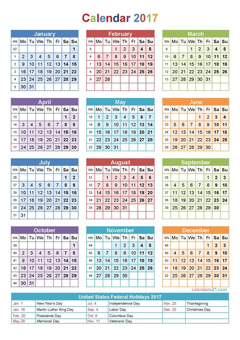 printable calendar week number printable calendar with week numbers 2017 free calendar