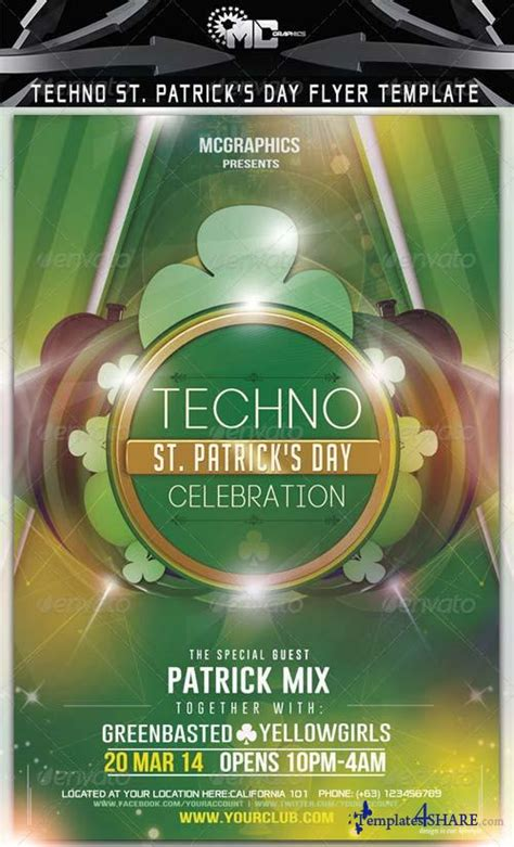 St Photoshop Template Graphicriver Techno St Patrick S Day Flyer Template 187 Templates4share Com Free Web Templates