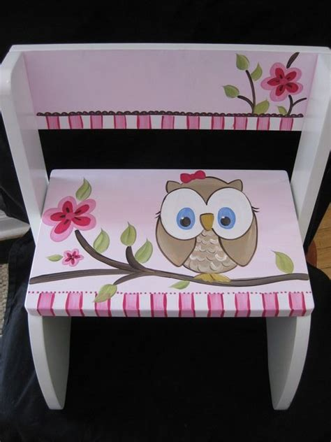 Painted Personalized Step Stools by Painted Owls Stools And Step Stools On