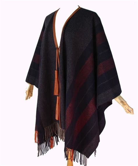 Blue Tassel Wool Cape S888 hermes wool blue fringed rocabar poncho with