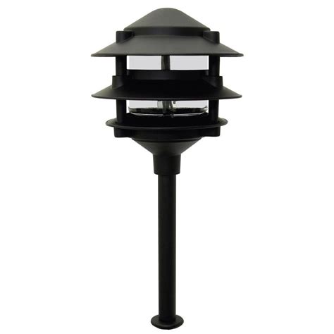 3 tier landscape lighting moonrays pagoda style 3 tier low voltage 11 watt black metal outdoor landscape path light 95725