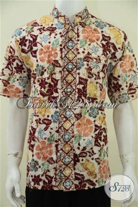 Kemeja Batik Pria Kerah Sanghai kemeja batik modern model koko muslim baju batik kerah shanghai motif bagus proses cap bledak