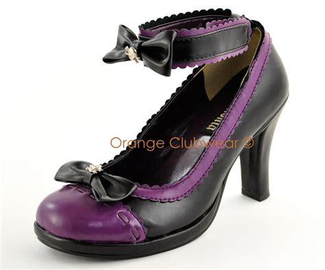 black and purple high heels demonia shoes skull pumps high heels