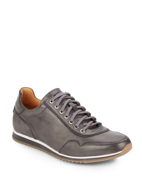 saks mens sneakers saks fifth avenue leather sneakers in gray for lyst