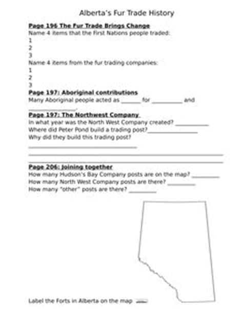 fur trade worksheets alberta grade 4 social studies 4 1 resources map it would be great to what