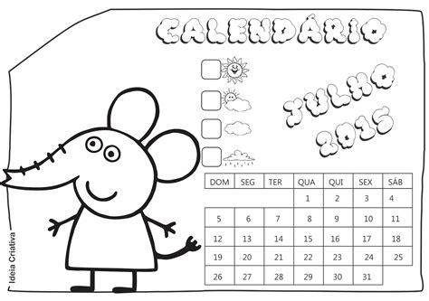 Calendario Julho 2015 Calend 225 Rios Peppa Pig E Amigos 2015 Para Imprimir Gr 225 Tis