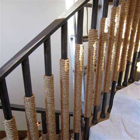 rope staircase railing bannister wrapped around steel