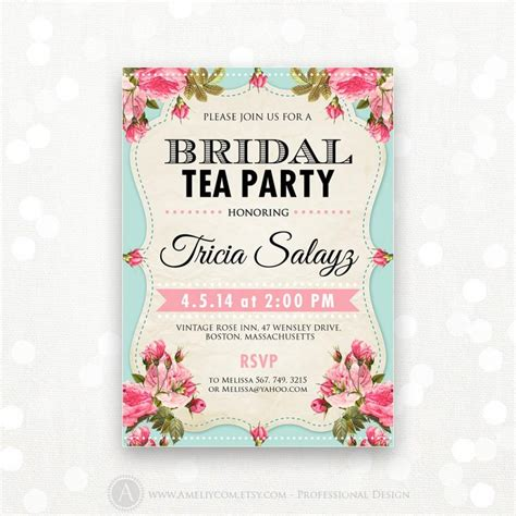printable bridal shower invitation bridal tea party