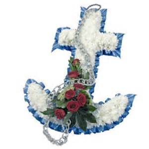 Flower Baskets For Funerals - forget me not flowers anchor wreath p114