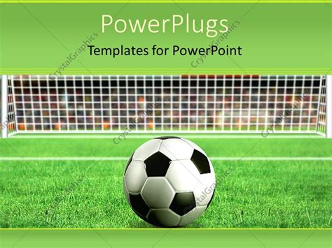Powerpoint Template Depiction Of A Football On Grass In Front Of A Net 11906 Powerpoint Football Template