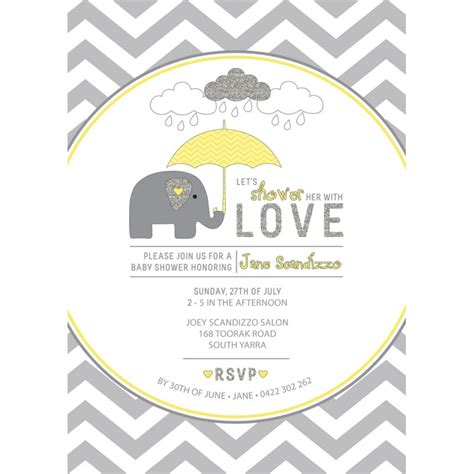 Yellow And Grey Elephant Baby Shower Printable Invitation Yellow And Gray Baby Shower Invitation Templates