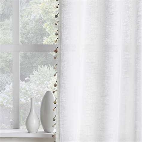 beaded trim for curtains linen cotton wood bead trim curtains set of 2 west elm