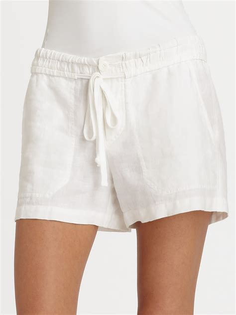 Drawstring Shorts lyst vince linen drawstring shorts in white