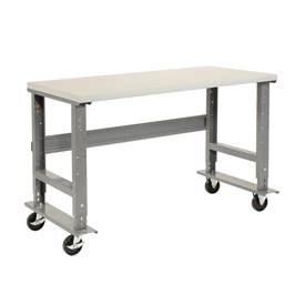 adjustable work bench mobile work bench adjustable height 72 quot w x 36 quot d mobile plastic safety edge work bench