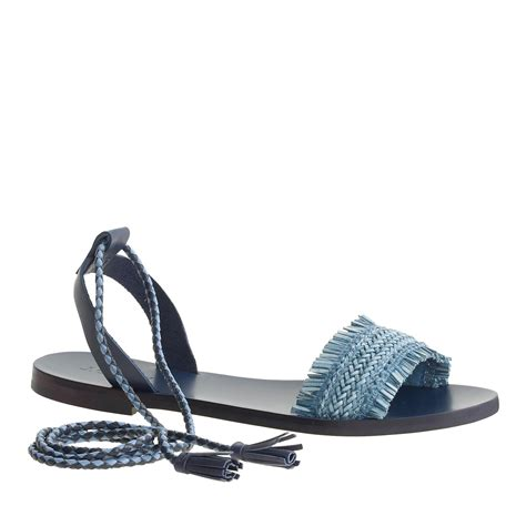 ankle tie sandals j crew raffia ankle tie sandals in blue chatham bay lyst
