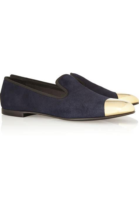 giuseppe zanotti loafers giuseppe zanotti dalila metal capped suede loafers in blue