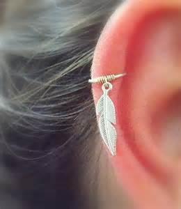 plume cartilage hoop boucles doreilles piercing cerceau