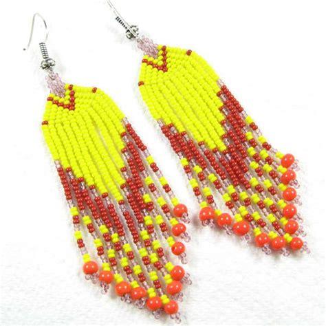 Handmade Wholesale - yellow coral seed beaded earrings handmade wholesale