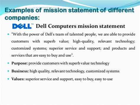 exle of mission statement vision and mission of companies