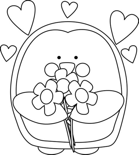 valentines day black and white black and white s day penguin with flowers clip