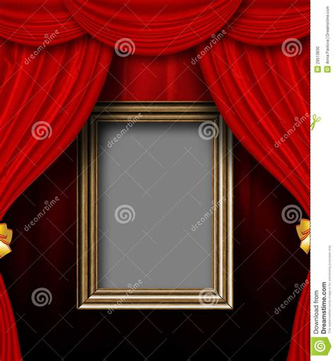 curtain frame red curtain room with wooden frame stock photo image