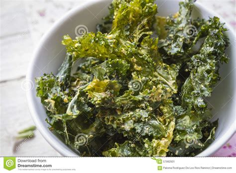 Crunchy Green Kale Ready Stock kale chips stock image image of green crispy kale